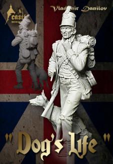 British soldier with mongrel